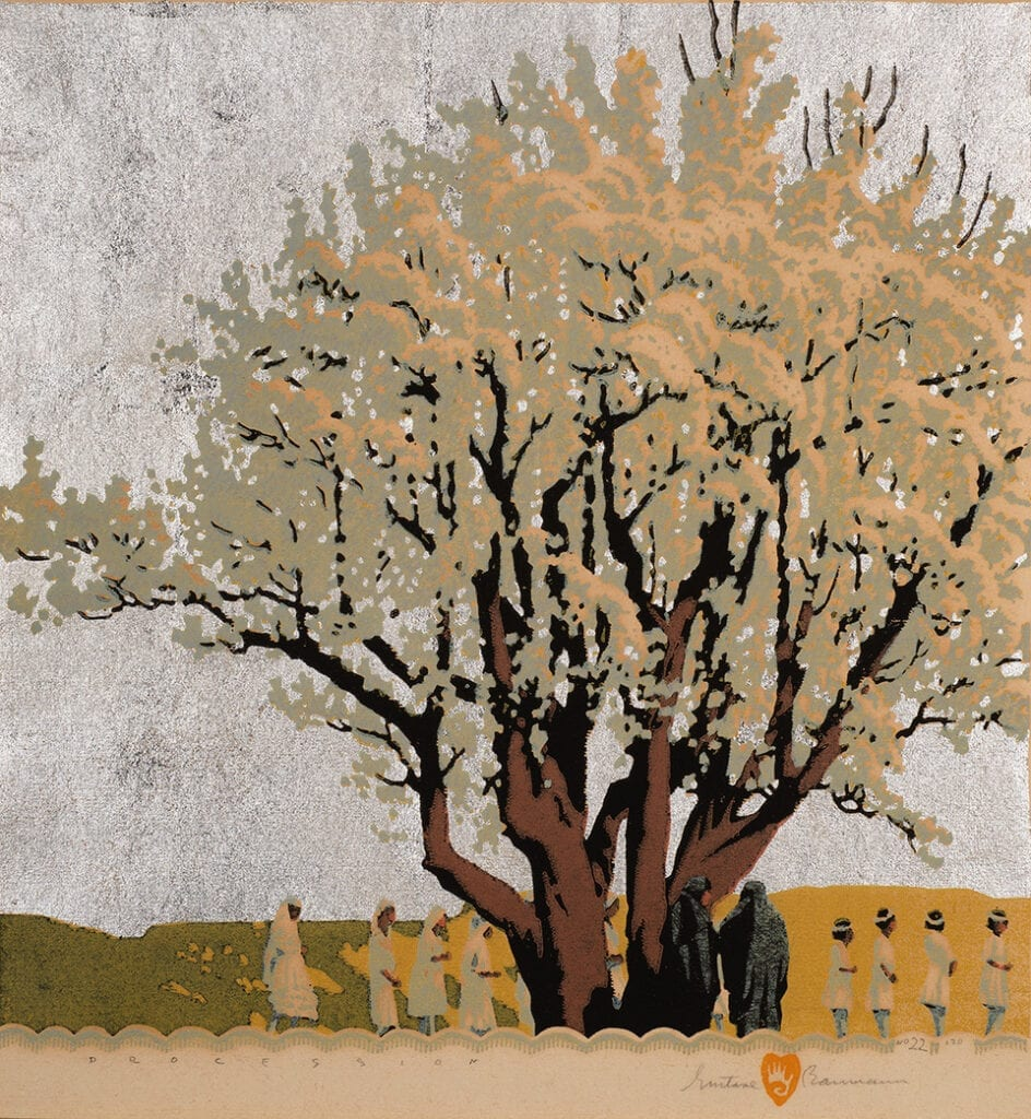Wood block print of a tree with silver background