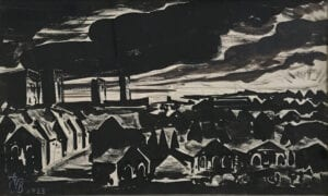 dark industrial scene of houses and smoke stacks