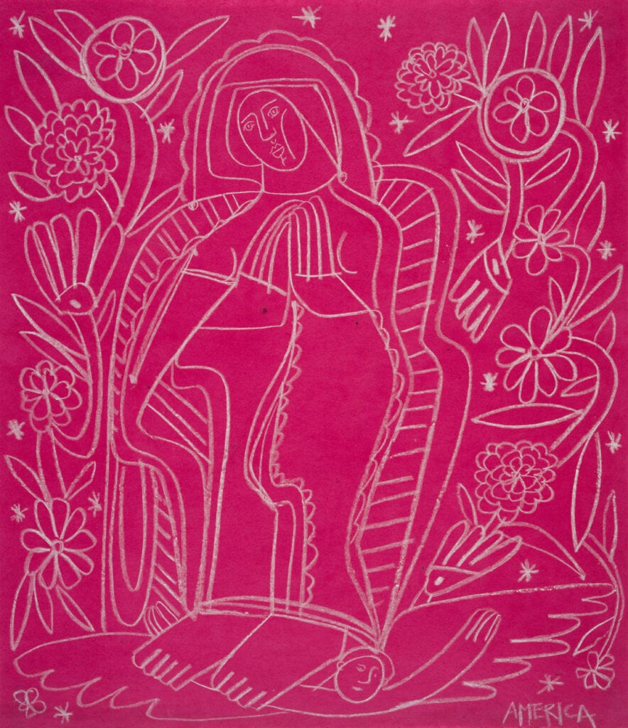 America Martin drawing of our lady of Guadalupe with white pencil on pink paper