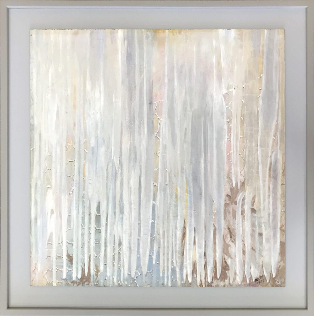 Dorothy Brett abstract painting of icicles in light pastel colors
